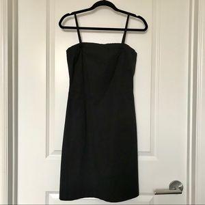 THEORY Black Convertible Strapless Cotton Dress